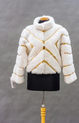 Куртка норка белая+кожа золото