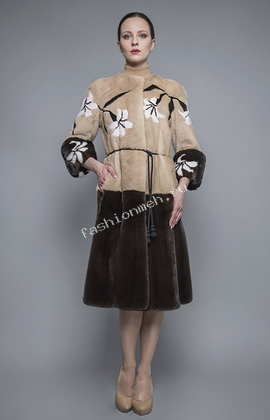 Пальто из норки с инкрустацией