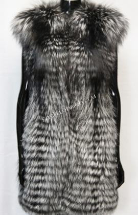 Жилет женский  из русской серебристо-чёрной лисы